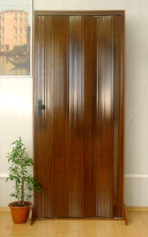 Дверь гармошка Премиум - Орех без витража