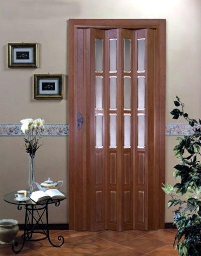 Дверь гармошка - Орех с витражом