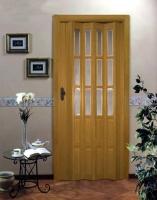 Дверь гармошка - Дуб с витражом