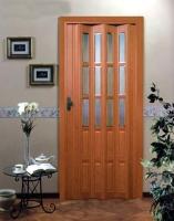 Дверь гармошка - Вишня с витражом